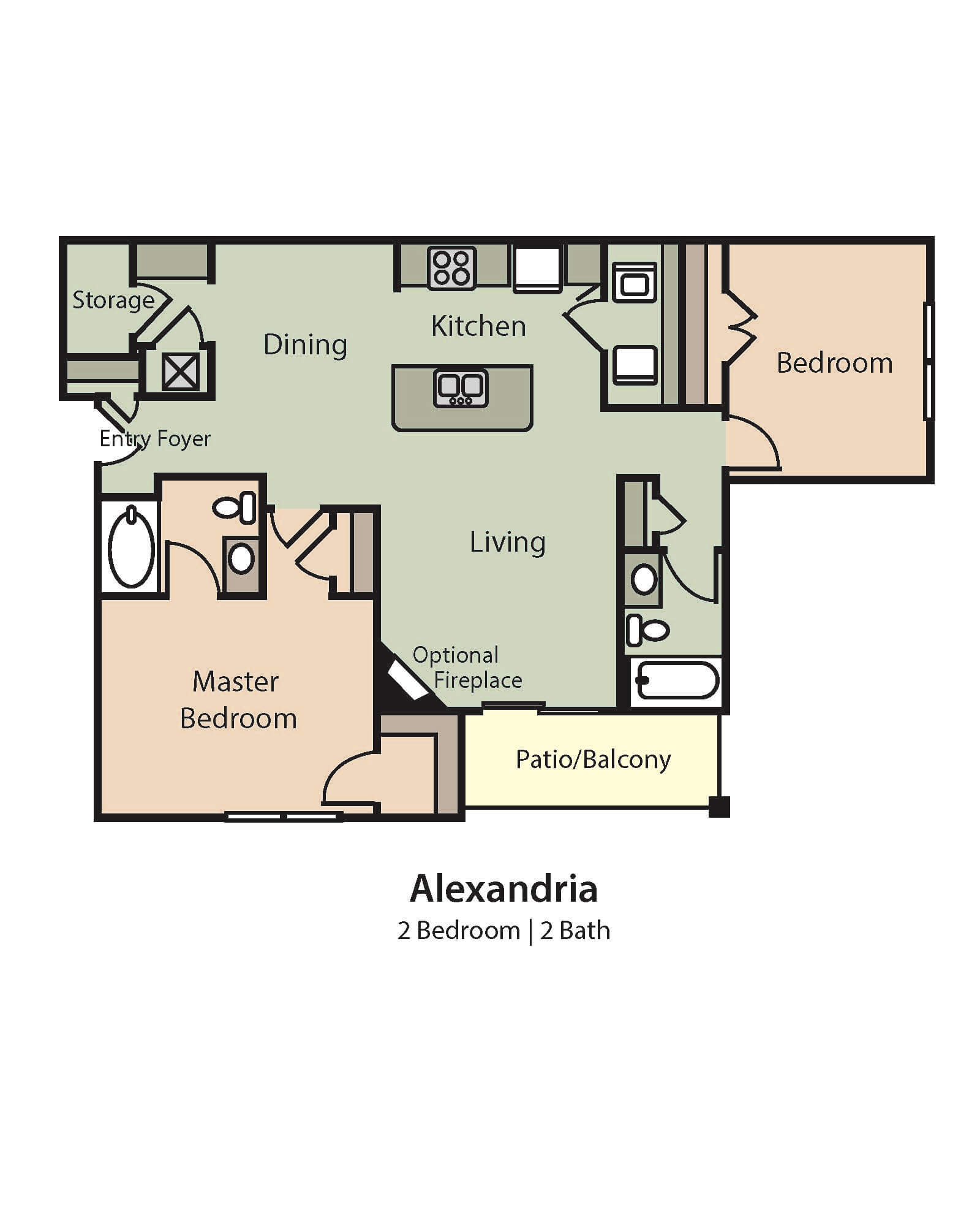 Alexandria Floor Plan, 2 Bedrooms, 2 Baths