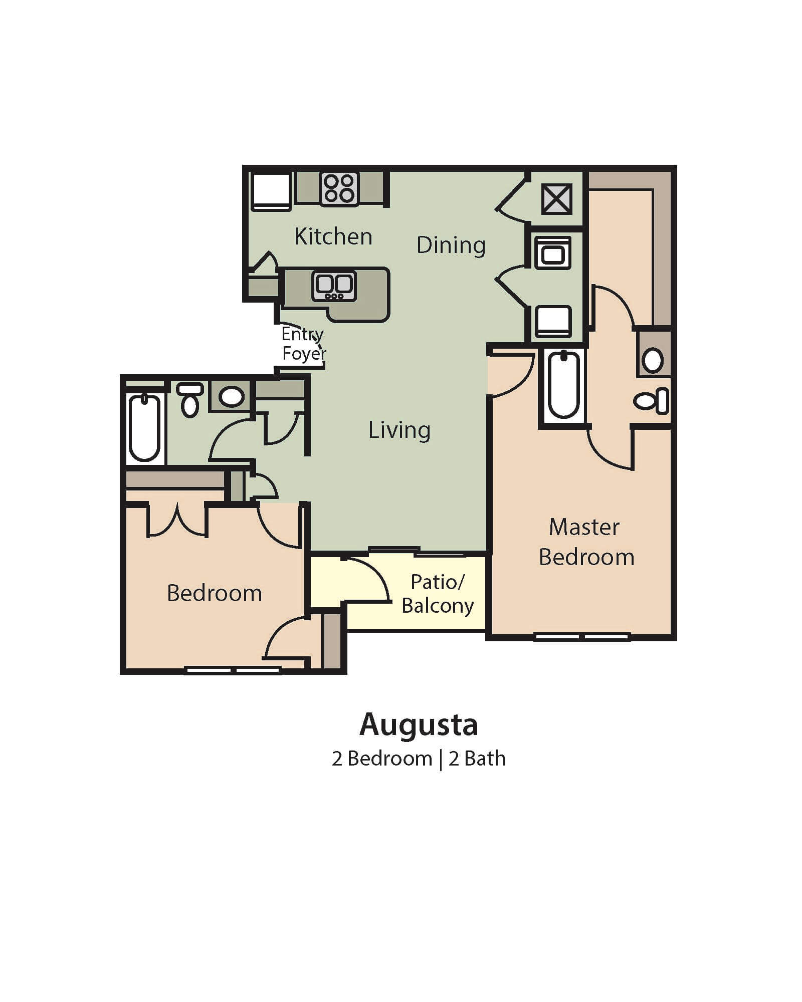 Augusta Floor Plan, 2 Bedrooms, 2 Baths