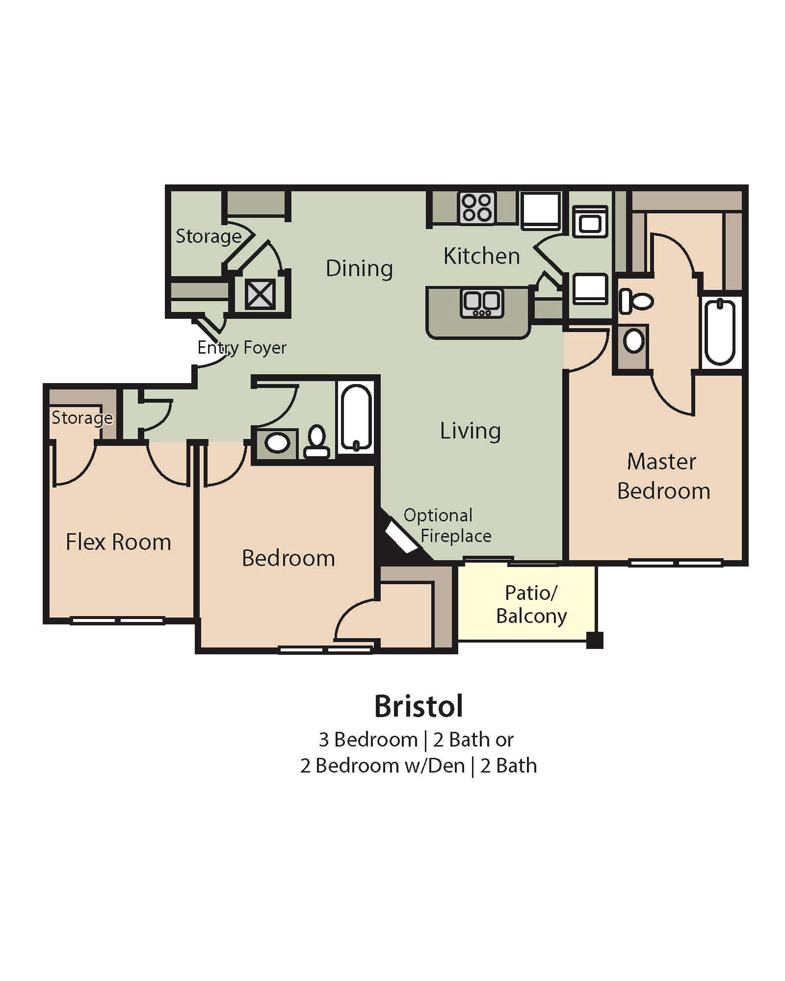 Bristol Floor Plan, 3 Bedrooms, 2 Baths or 2 Bedrooms, a flex room, and 2 baths