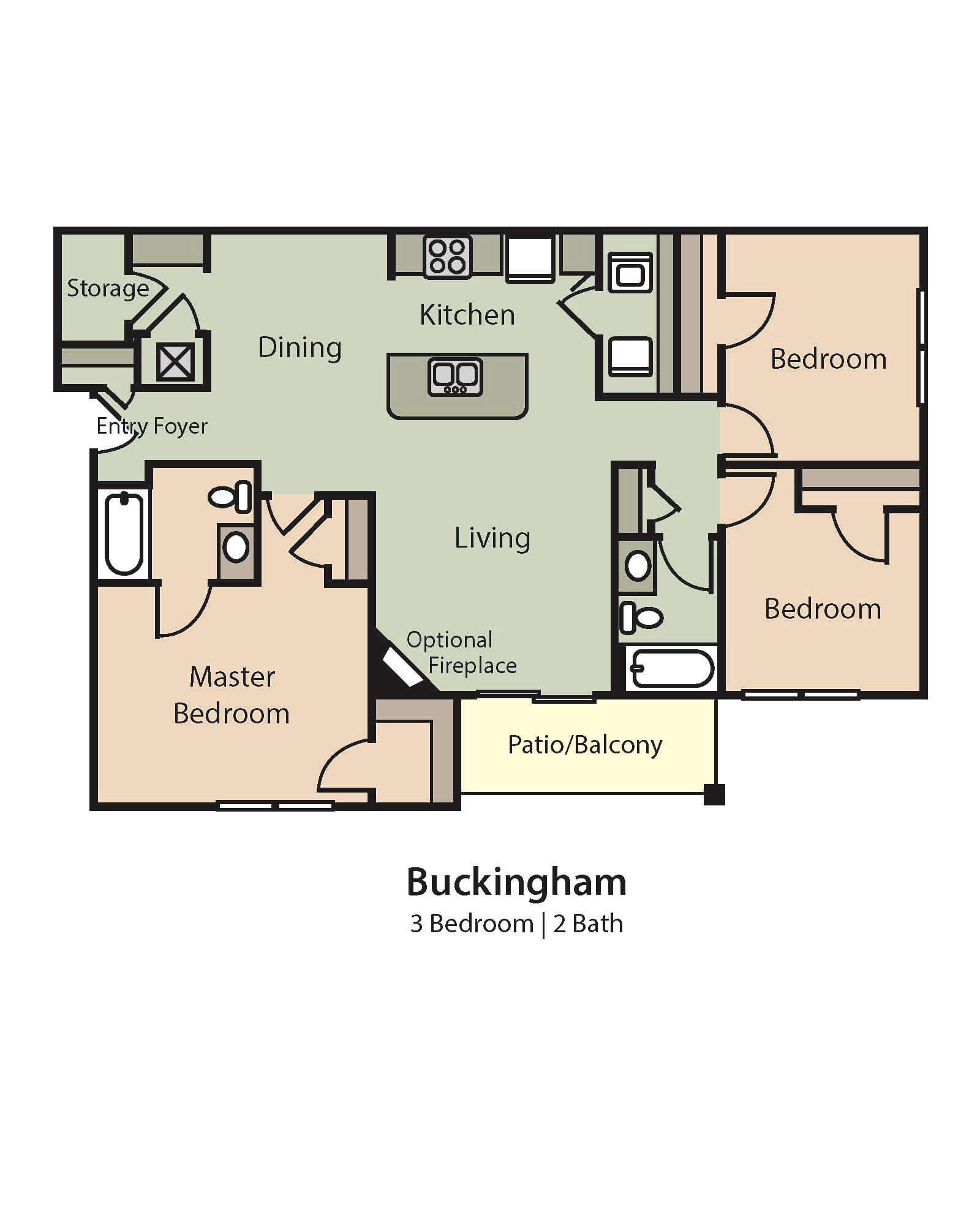 Buckingham Floor Plan, 3 Bedrooms, 2 Baths