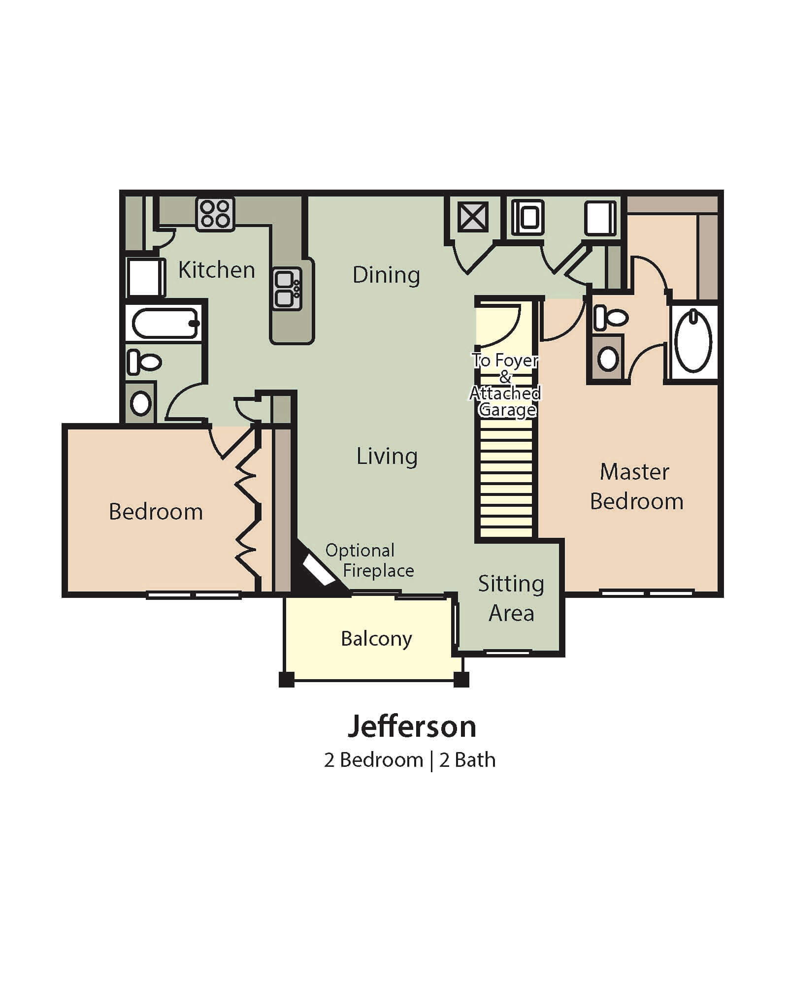 Jefferson Floor Plan, 2 Bedrooms, 2 Baths