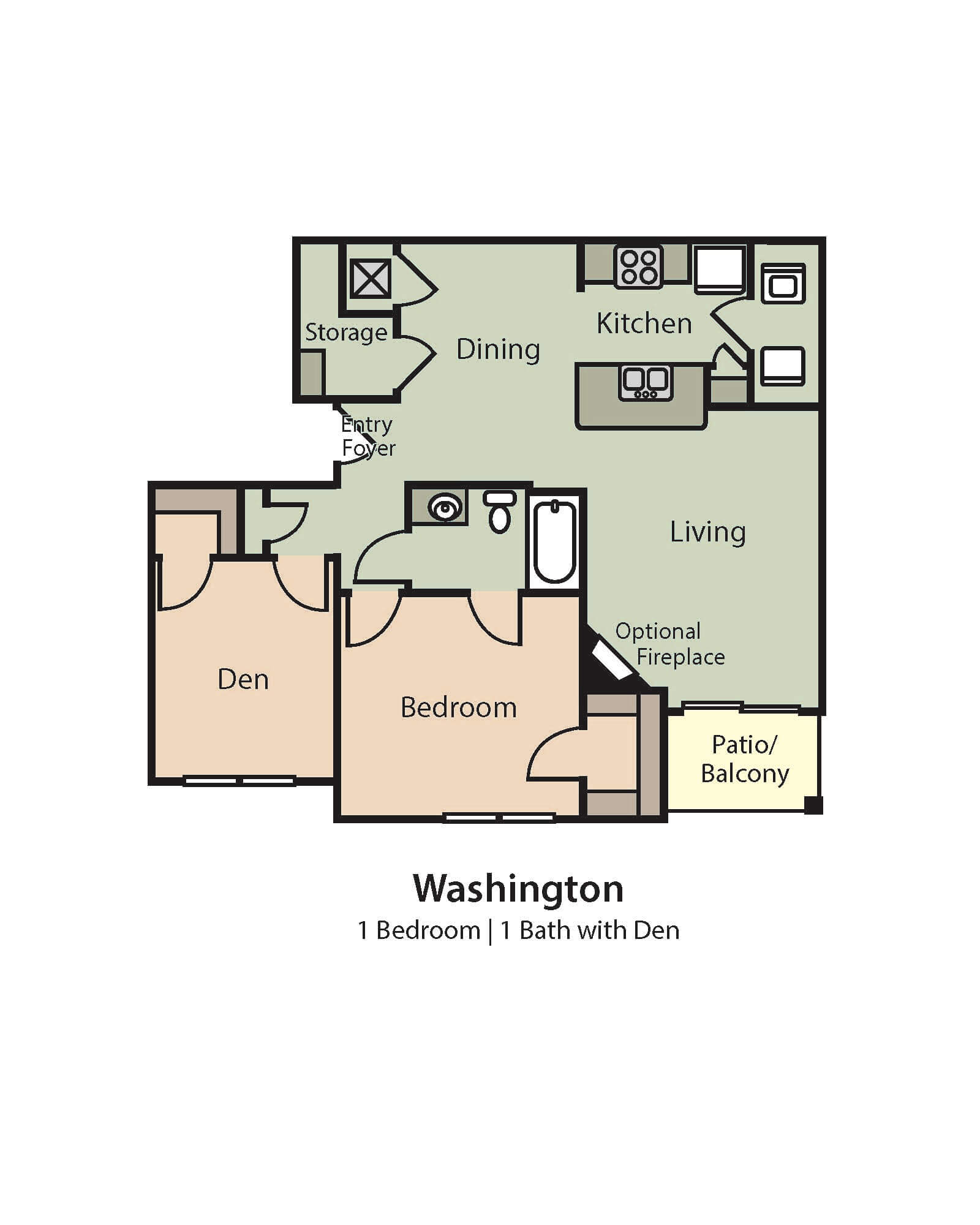 Washington Floor Plan, 1 Bedroom, 1 Bath