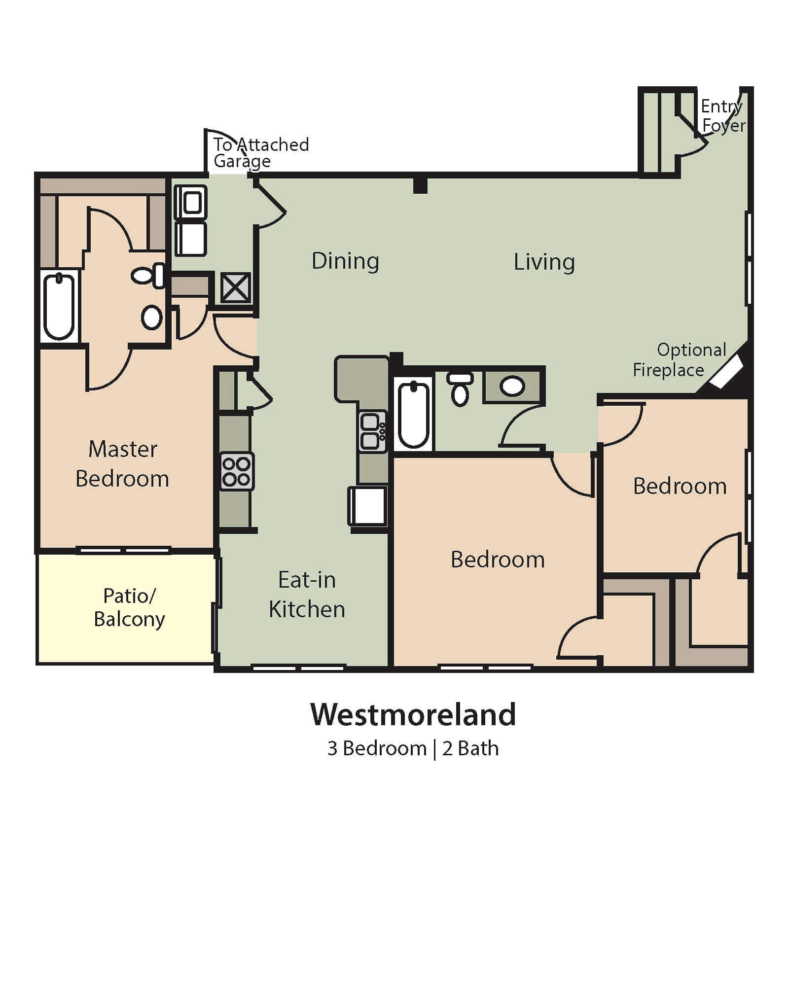 Westmoreland downstairs floor plan, 3 Bedrooms, 2 Baths