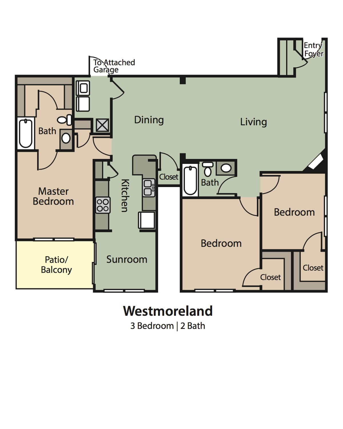 Westmoreland upstairs floor plan, 3 Bedrooms, 2 Baths