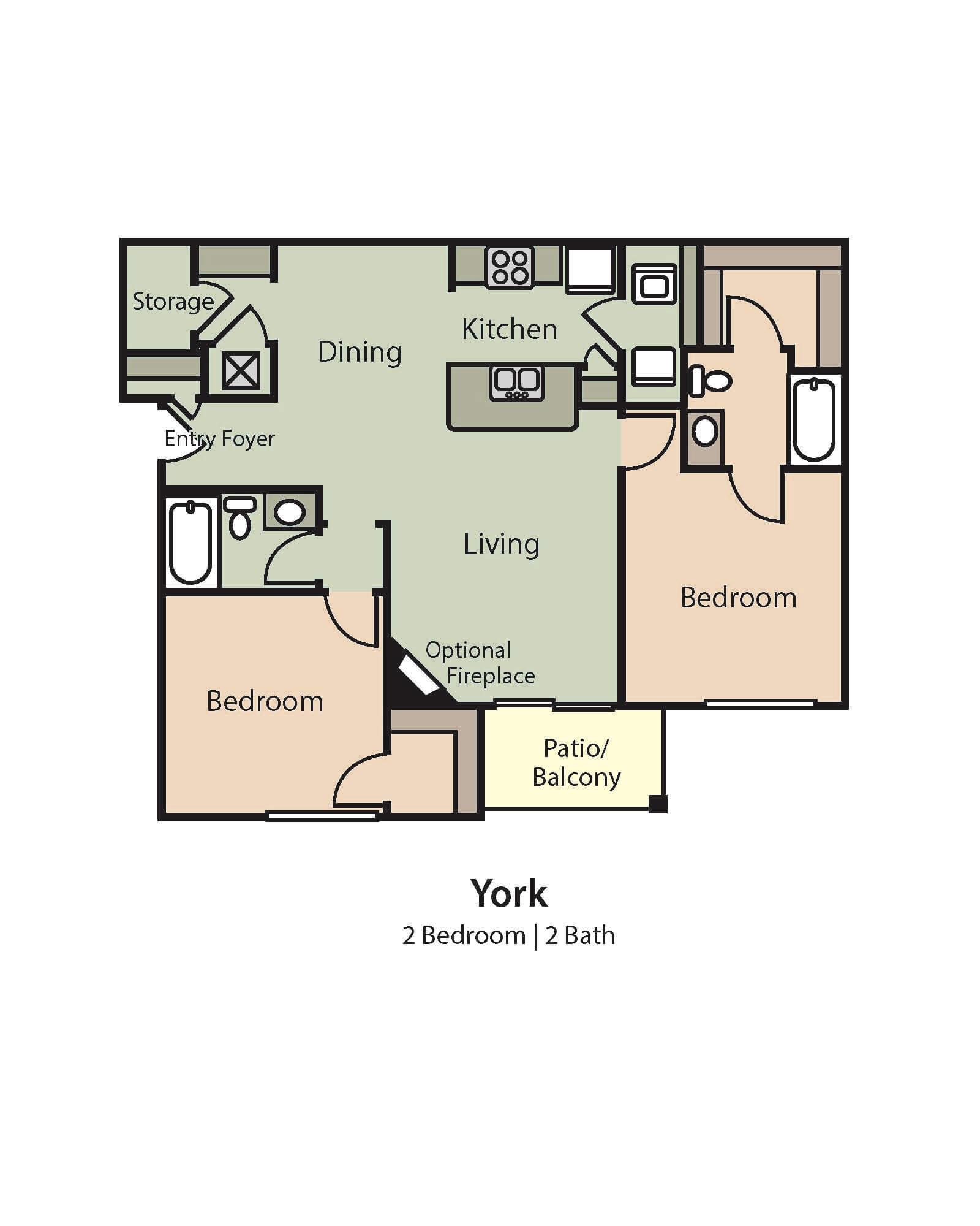 York 2 Bedroom 2 Bath floor plan