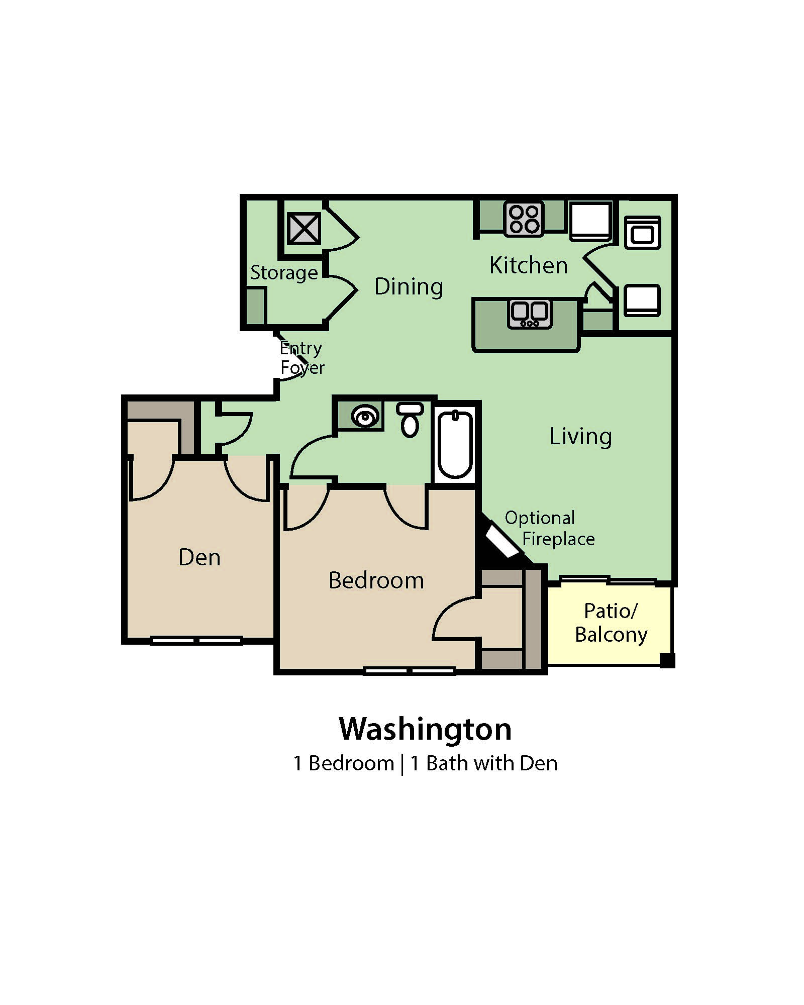 Washington 1 Bedroom, 1 Bath floor plan